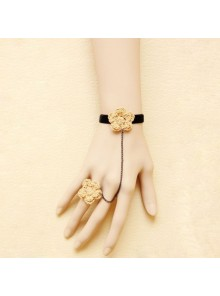 Beige Floral Little Girls Lolita Bracelet And Ring Set