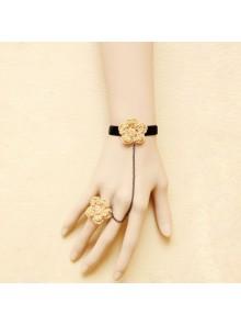 Beige Floral Little Girls Lolita Bracelet And Ring Set