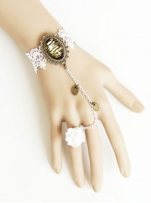 Retro White Lace Lady Handmade Lolita Bracelet And Ring Set