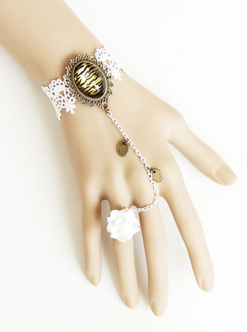 Retro White Lace Lady Handmade Lolita Bracelet And Ring Set