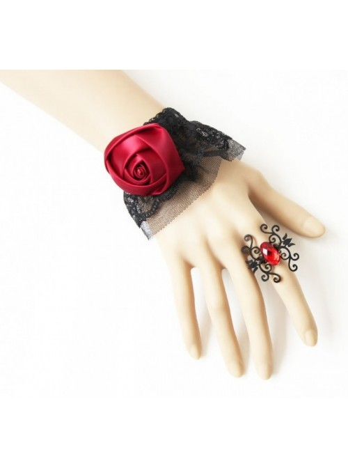 Gothic Exquisite Black Lace Red Rose Lolita Bracelet And Ring Set