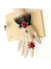 Elegant Concise Black Lace Red Rose Lolita Bracelet And Ring Set