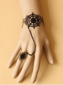 Handmade Black Lace Cobweb Laday Lolita Bracelet And Ring Set