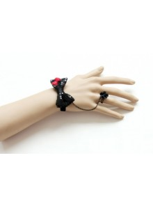Cute Black Bowknot Lolita Bracelet And Ring Set