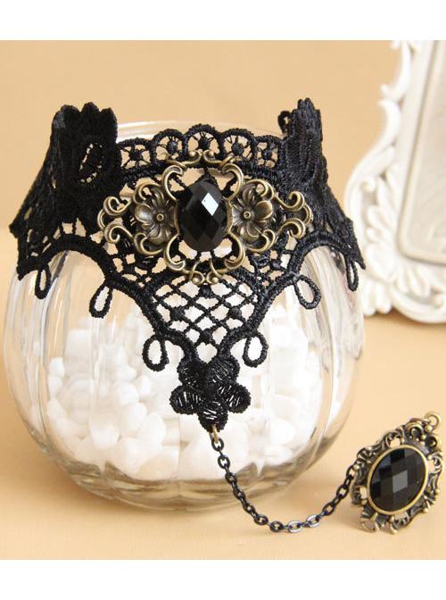 Black Lace Gothic Lolita Bracelet And Ring Set