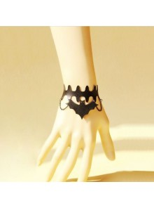 Black Leather Bat Lolita Wrist Strap
