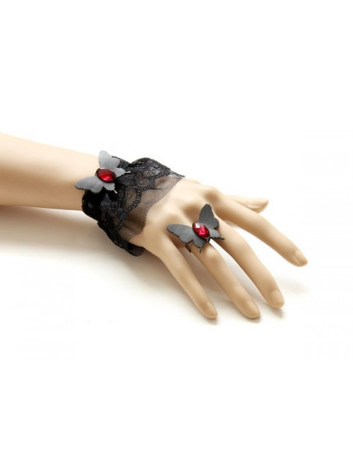 Gothic Black Butterfly Lace Lolita Bracelet And Ring Set