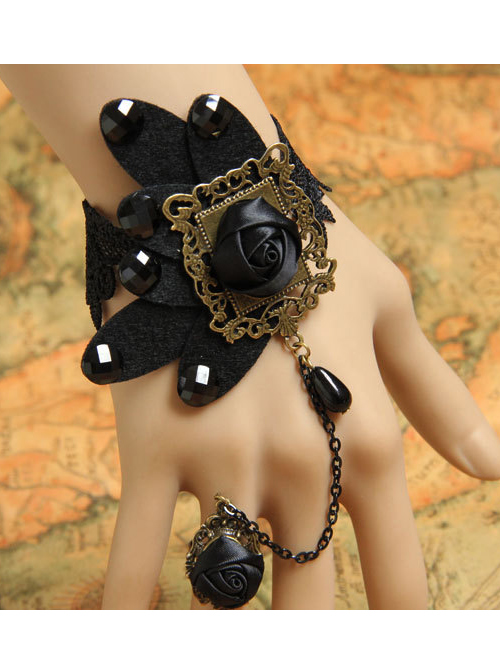 Black Butterfly Lace Black Ribbon Rose Gothic Bracelet And Ring