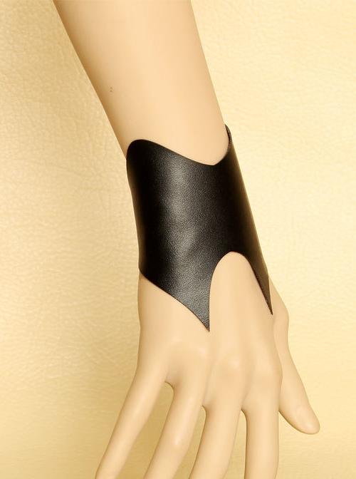 Handmade Black PU Leather Lady Lolita Wrist Strap