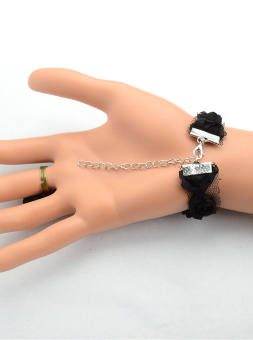 Black Lace Flower Girls Lolita Bracelet And Ring Set