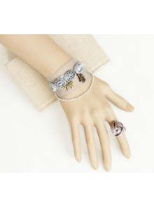 Cute Rose Lace Girls Lolita Bracelet And Ring Set
