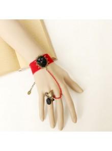 Handmade Gothic Black Rose Lady Lolita Bracelet And Ring Set
