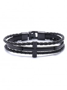 Concise Black Lady Lolita Leather Wrist Strap