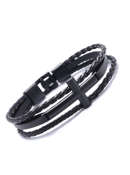 Concise Black Lady Lolita Leather Wrist Strap