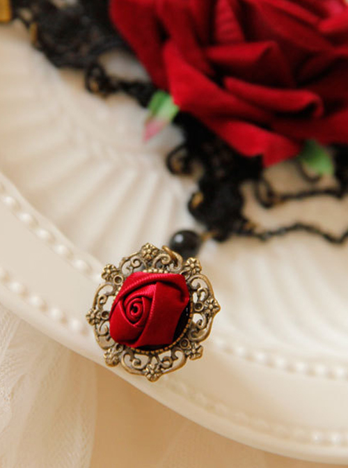 Gothic Black Lace Red Rose Lolita Wrist Strap And Ring Suit