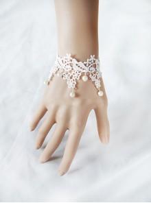Sweet White Lace Pearl Lolita Wrist Strap