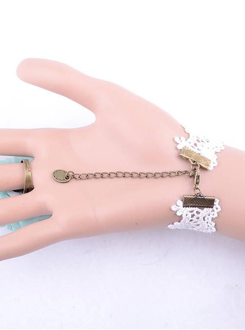Blue Flower White Lace Lolita Bracelet And Ring Set