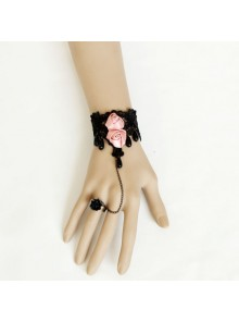 Black Lace Victorian Rose Lolita Bracelet And Ring Set