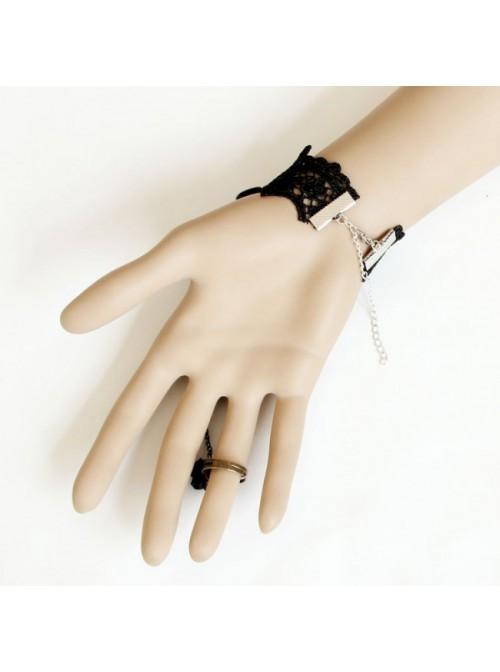 Black Lace Victorian Rose Lolita Bracelet And Ring Set