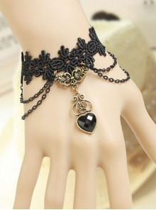 Vampire Black Lace And Heart Pendant Lolita Bracelet
