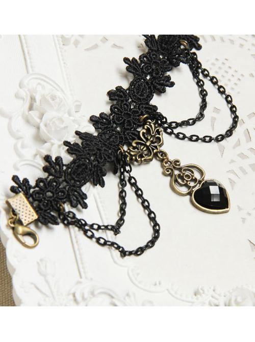 Vampire Black Lace And Heart Pendant Lolita Bracelet