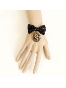 Charming Black Bowknot Lady Lolita Wrist Strap