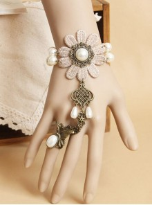 Vintage Flower Pearl Lace Lolita Bracelet And Ring