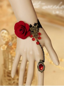 Gothic Black Queen Lolita Bracelet And Ring Set