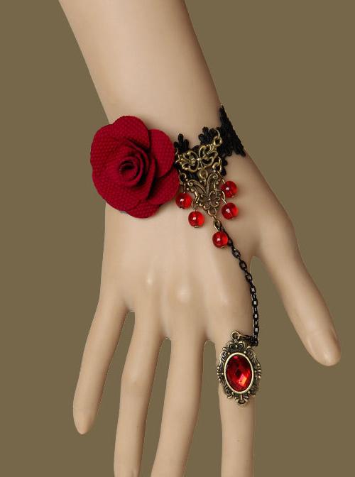 Gothic Black Queen Lolita Bracelet And Ring Set