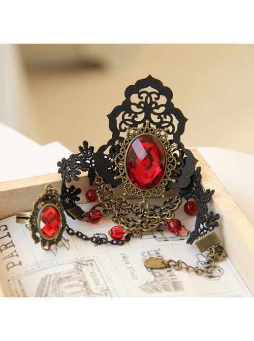 Black Lace Fashion Red Crystal Lady Lolita Wrist Strap And Ring Suit