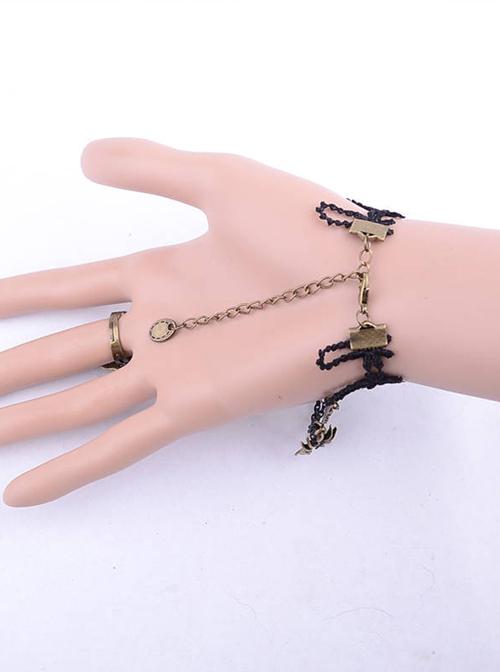 Retro Spider Black Lace Punk Lolita Bracelet And Ring Set