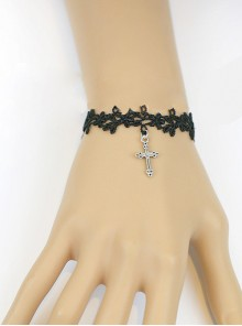 Sweet Black Lace Silver Crucifix Girls Lolita Wrist Strap