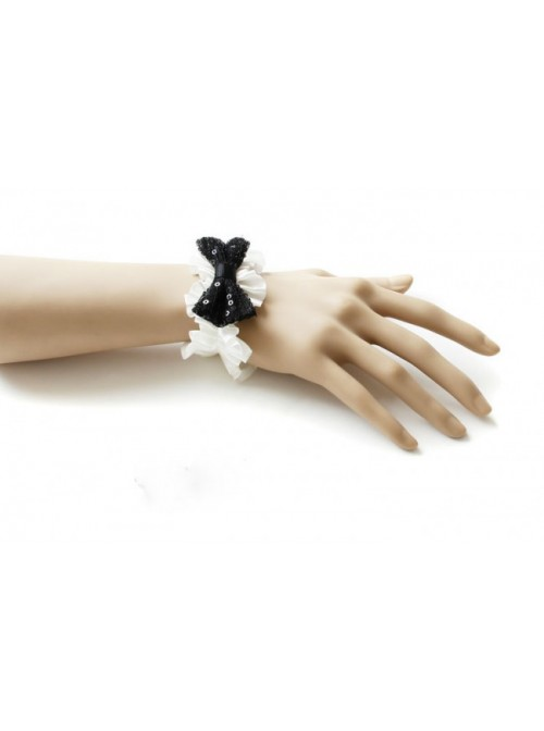 White Lace Black Sequins Bowknot Girls Lolita Wrist Strap