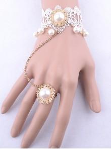 White Lace Pearl Bridal Lolita Wrist Strap