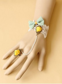 Sweet White Lace Floral Girls Lolita Bracelet And Ring Set
