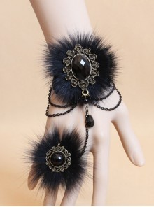 Gorgeous Black Button Chain Lady Lolita Wrist Strap