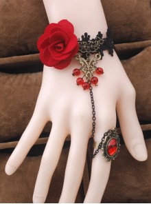 Retro Rose Lace Fashion Lady Lolita Wrist Strap And Ring Suit