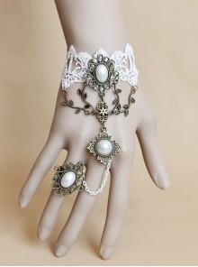 White Lace Alloy Vine Retro Pearl Lolita Wrist Strap