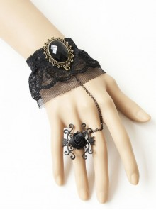 Elegant Retro Black Lace Lolita Bracelet And Ring Set