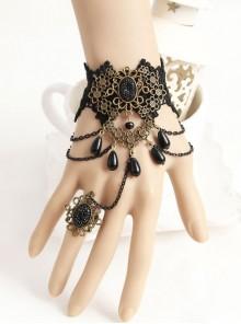 Gorgeous Black Lace Lolita Bracelet And Ring Set
