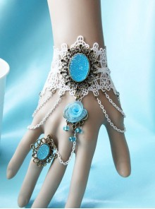 White Lace Blue Crystal Girls Lolita Bracelet And Ring Set