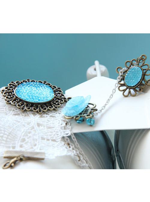 White Lace Blue Crystal Girls Lolita Bracelet And Ring Set
