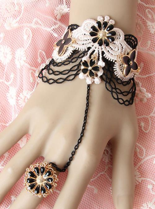Black Lace Flowers Lolita Bracelet And Ring Set