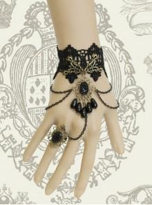 Gothic Black Lace Resin Rhinestones Pendant Lolita Wrist Strap