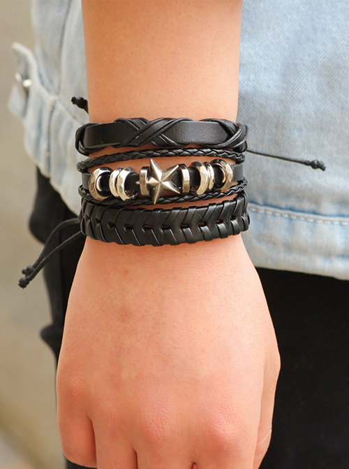 Special Black Leather Fashion Men' Wrist Strap Six Piece Set