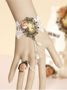 Elegant White Lace Princess Lolita Bracelet And Ring Set