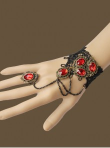 Black Lace Red Gems Lolita Wrist Strap And Ring