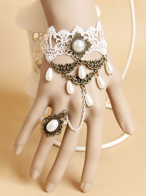 Bride White Lace And Pearl Pendant Lolita Wrist Strap And Ring