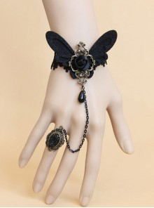 Black Lace Butterfly Gothic Lolita Wrist Strap And Ring