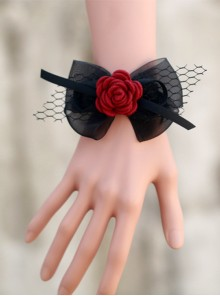 Concise Black Lace Bowknot Girls Lolita Wrist Strap